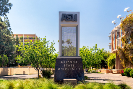 TEMPE, AZ/USA - APRIL 10, 2019: Entrance sign to the campus of Arizona State University.