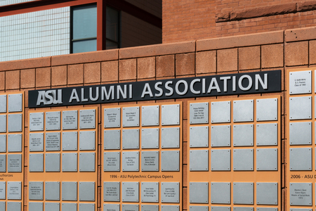 TEMPE, AZ/USA - APRIL 10, 2019: ASU Alumni Association wall on the campus of Arizona State University.