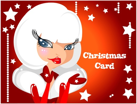 beautiful sexy girl wearing santa claus clothes card Illustration