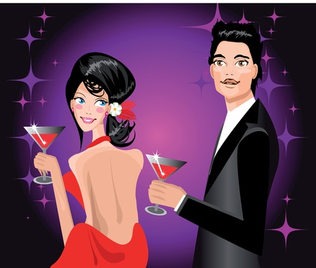 sexual pleasure: Couple enjoying drink in party Man and woman at disco club Illustration