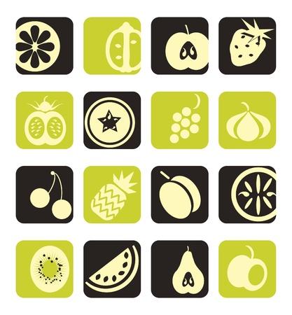 mezcla de frutas: Colecci�n de iconos de frutas mixtas
