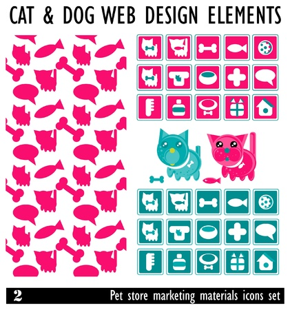 Designs of Pets and Other Related Items - Vector. Pet Store marketing materials. Icons set Stock Vector - 9623035