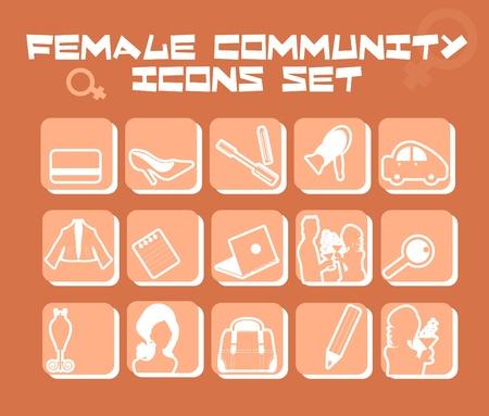 Comunit� femminile icons set - business, moda, amore, alimentare, cosmetico