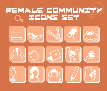 Female community icons set - business, fashion, love, food,cosmetic