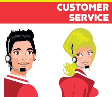 Support, help Man and woman portrait of service workers Stock Illustration: Call operator on white background.   Illustration