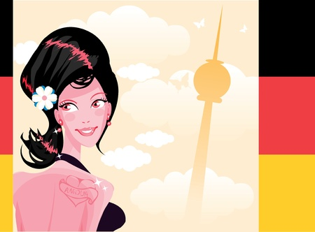 Cute woman country series - Germany  Illustration