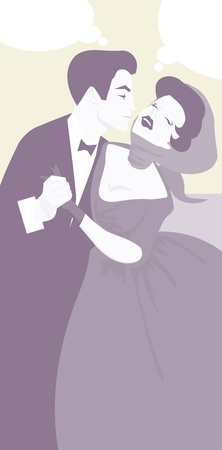 sexy young couple: Man kiss woman retro vintage banner with speech bubble