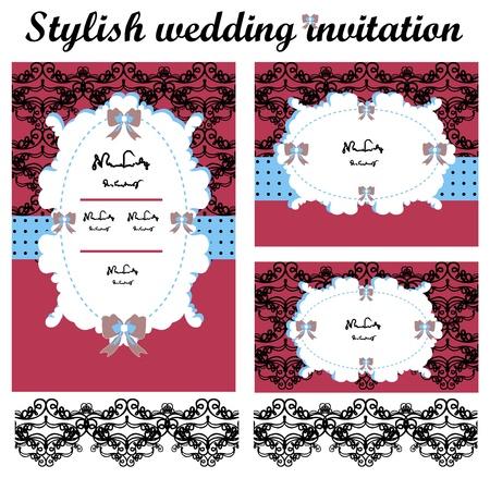 Elegante nozze inviti set Vettoriali