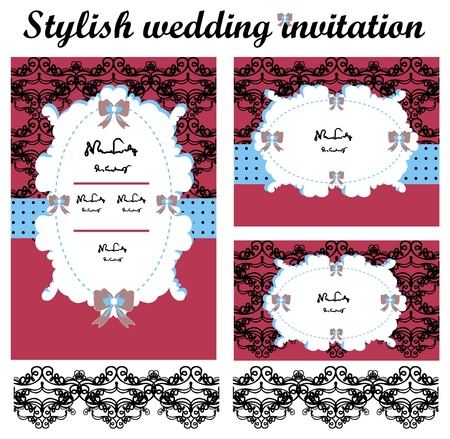 Stylish wedding invitations set Stock Vector - 9664964