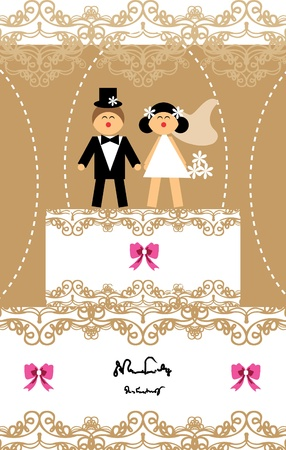 Wedding invitation love couple card Vector
