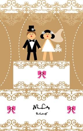 Wedding invitation love couple card Illustration