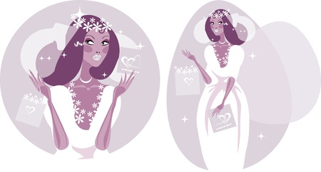 Donna felice Smiling sposa illustrazione - bella sposa in abito da sposa bianco.