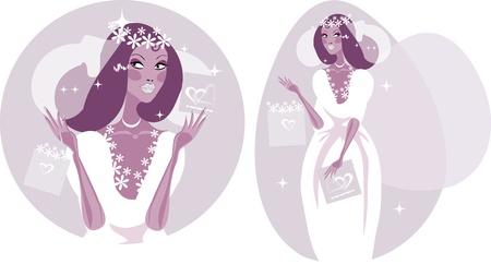 Woman Happy Smiling Bride Illustration - Beautiful Bride in white wedding dress.