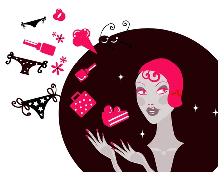 Shopping Woman Making Decision What To Buy /Pretty woman  dreaming / Lifestyle  Illustration