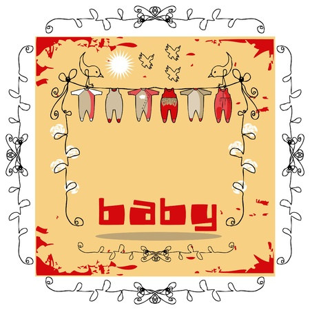 Baby Clothes Line doodley paper card Vector