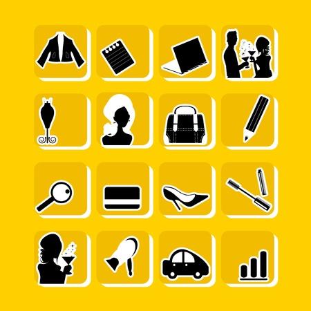 Woman icons set : business, healthcare, fashion, love