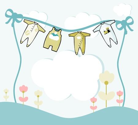 ropa de beb�: Ilustraci�n de la tarjeta con ropa de beb� y flores Vectores