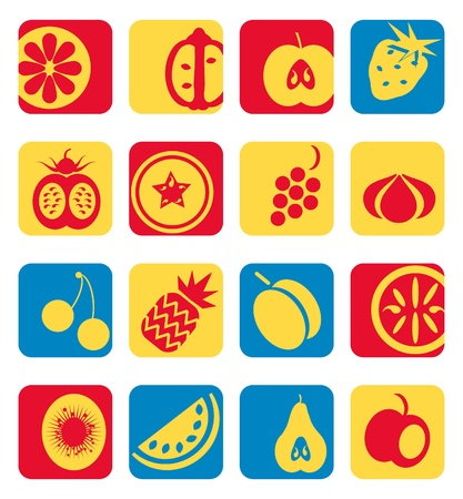 mixed fruit: Mixed fruit icons collection