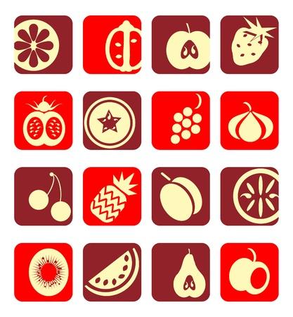 Collezione di icone di frutta mista
