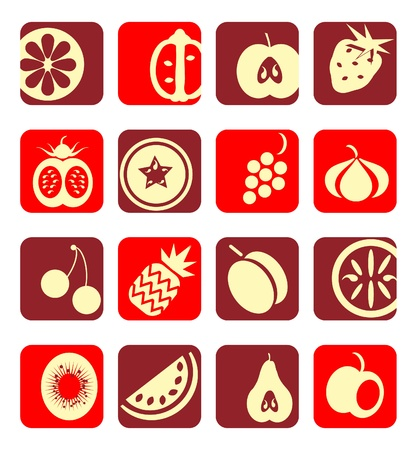 Mixed fruit icons collection