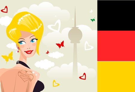 Cute young german woman on background of Berlin symbol silhouette  Country Series - Germany