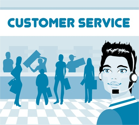 kunden service: Charmante Kundendienstmitarbeiter mit Headset auf, Gruppe von Kunden. Operator talking on Headset, l�chelnd