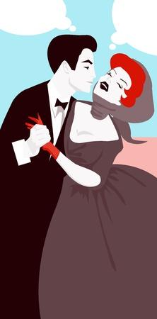 Uomo bacio donna retr� vintage banner con nuvoletta Vettoriali