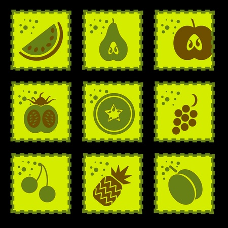 Fruit stamp Fruits Collection - Set of Various Design Elements  Vector