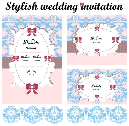 Stylish wedding invitations set Vector