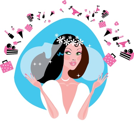 Bride Shopping. Bride is preparing before wedding. Bride in white dress  Stock Vector - 9684515