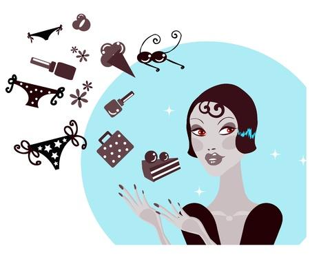 Lo shopping donna facendo decisione che cosa per acquistare Pretty donna sognando