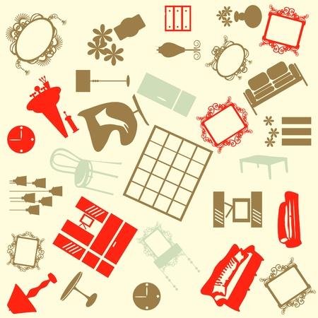Seamless furniture background  Illustration