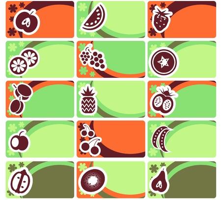 Affari set carta o tag - la raccolta di frutta e verdura Vettoriali
