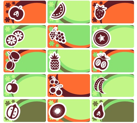 Business card or tag set - fruit and vegetables collection Vector
