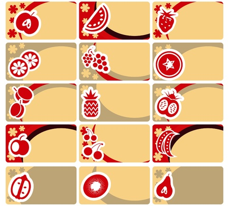 Business card or tag set - fruit and vegetables collection Stock Vector - 9884960