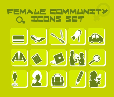 Female community icons set - business, fashion, love, food,cosmetic