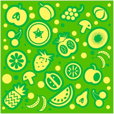 Fruit and vegetables pattern Illustration