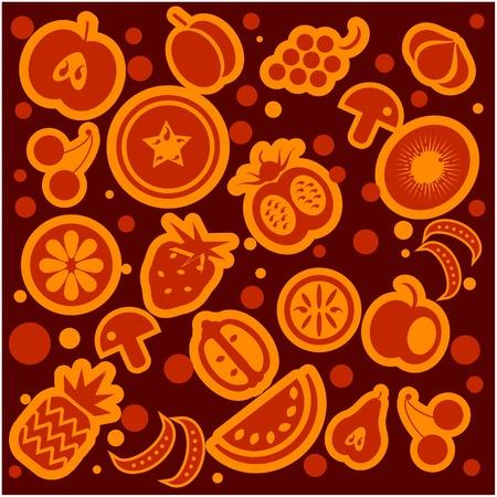 Frutta e verdura modello Vettoriali