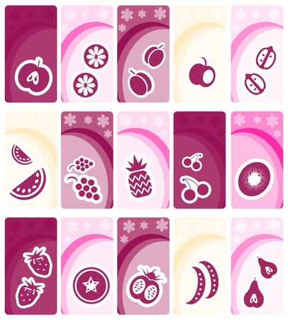 Fruit and vegetables icons on floral banners background collection