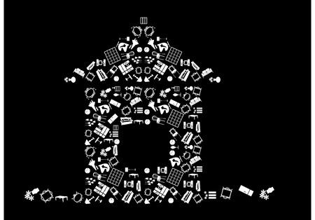 Home emblem icons set