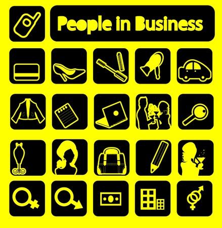 La gente in collezione business icone. emblemi impostato