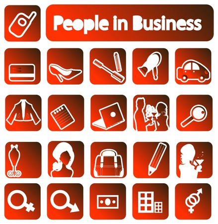 People in business icons collection. emblems set