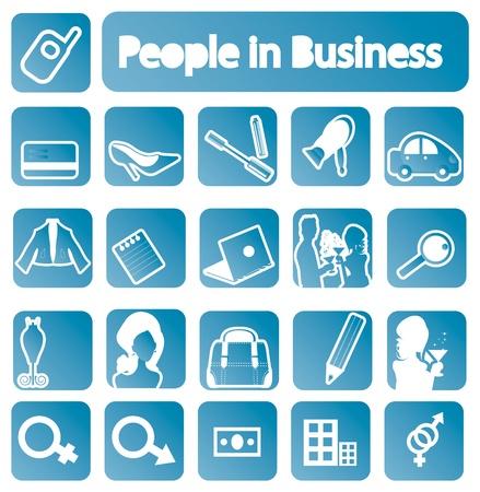 Le persone nella raccolta di business icone. emblemi di Vettoriali