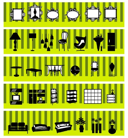 Stylish black and white home accessories and decoration Vector