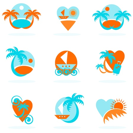 travel icons collection - vacation emblems and symbols Stock Vector - 9884956