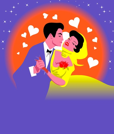 Retro Silhouette of a man hug  beautiful woman. Moon, stars and hearts on the background.  Vector