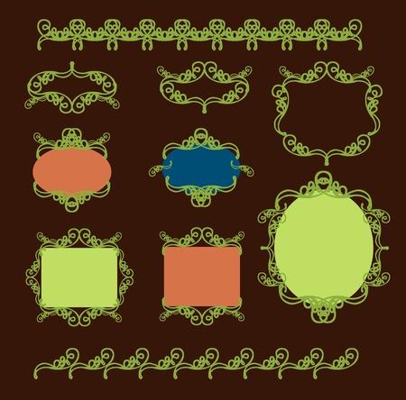 insieme di elementi di design in stile vintage vettorializzare Vettoriali