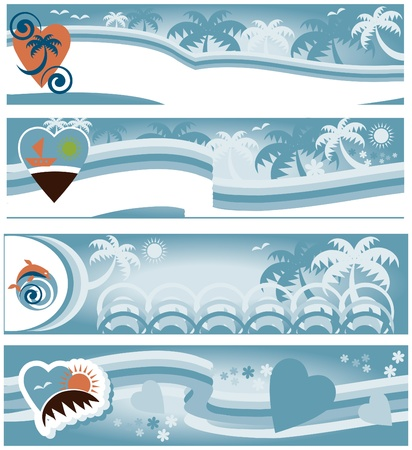 summer beach collection of travel banners  Stock Vector - 9884957
