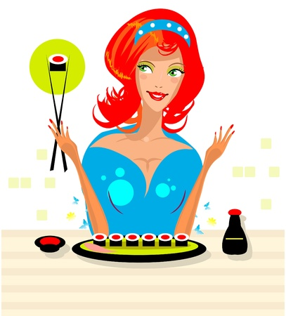 susi: Woman eat susi -exotic food in Sushi bar Illustration