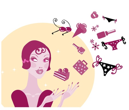 Shopping Woman Making Decision What To Buy /Pretty woman  dreaming / Lifestyle vector Illustration Stock Vector - 9884978